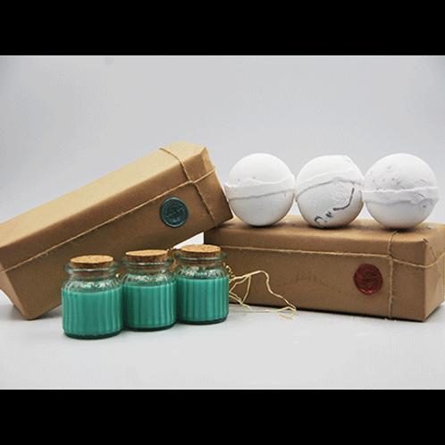 Apple & Cinnamon Candles - Coconut, Dragon Fruit & Mangosteen Bath Bomb Gift Set
