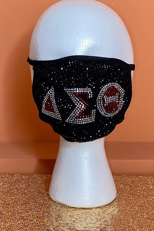 Delta Sigma Theta Rhinestone Mask - Black