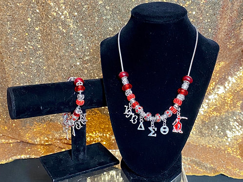 Delta Sigma Theta Charm Necklace and Bracelet Set