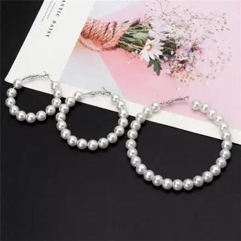 Pearl Hoop Earrings - Multiple Sizes
