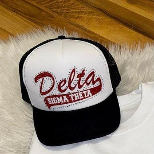 Delta Sigma Theta Glitter Rhinestone Snapback - White