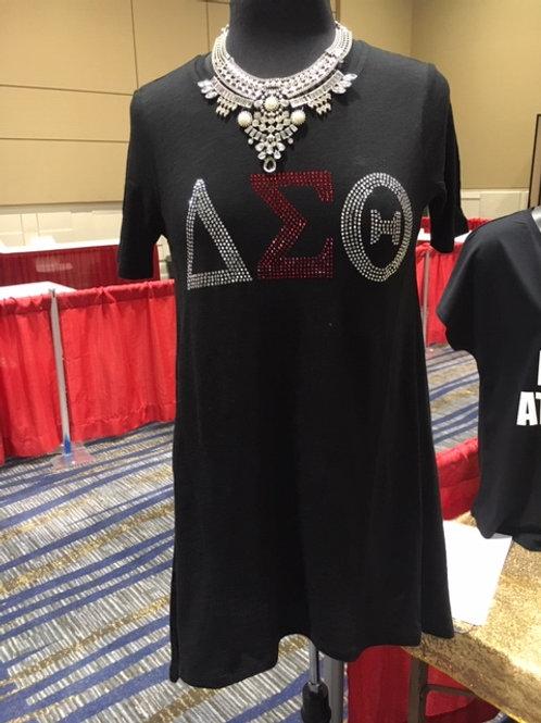 Delta Sigma Theta Rhinestone Tunic Black