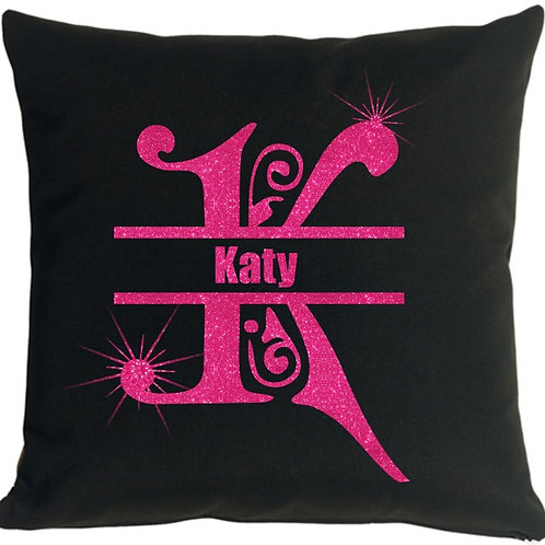 Glitter Monogrammed with Name Throw Pillow Cover