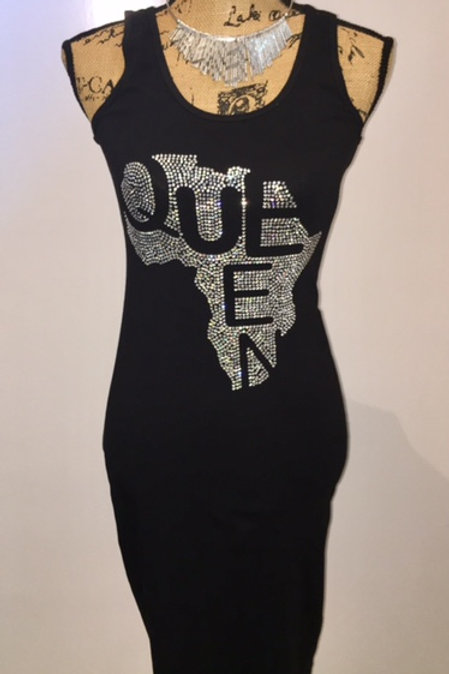 Queen Rhinestone Bodycon Tank Dress