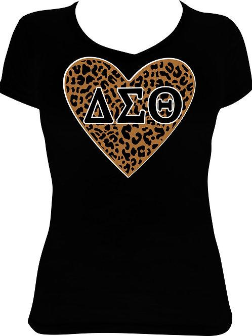 Delta Sigma Theta Glitter Leopard Heart  - Black