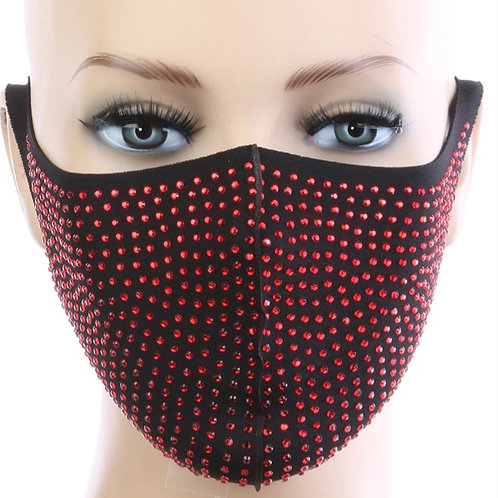 Rhinestone Mask - Red