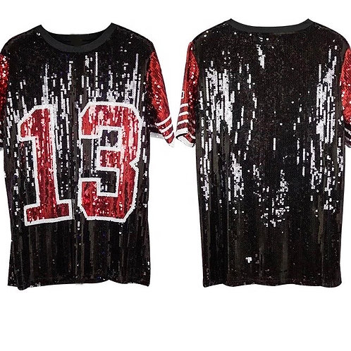 13 DST Inspired Sequin Jersey Shirt - Black