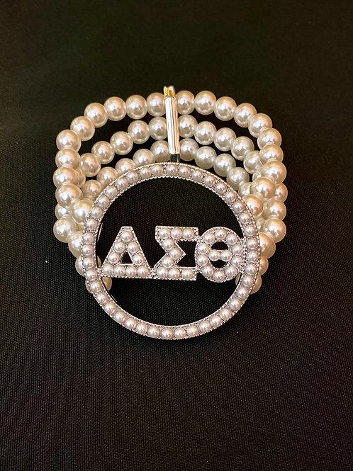 Delta Sigma Theta 3 Strand Pearl Bracelet
