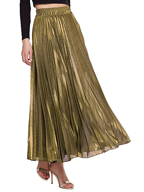Gold Metallic Pleated Maxi Skirt