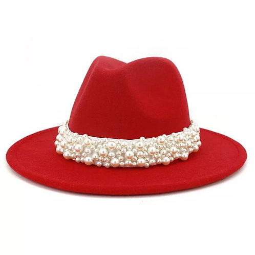 Fedora - Red with Pearls