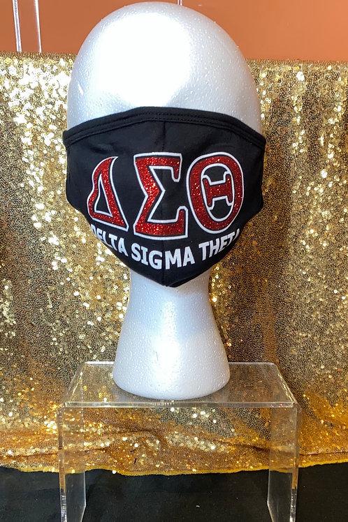 Delta Sigma Theta Glitter Mask - Black