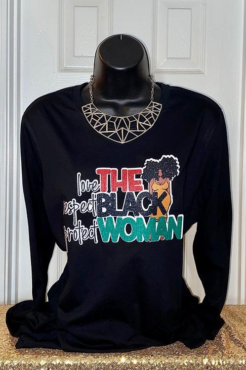 Respect The Black Woman Glitter Tee