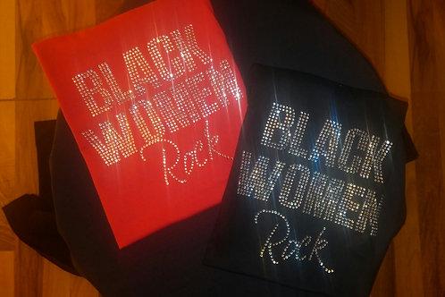 Black Women Rock Rhinstone Tee