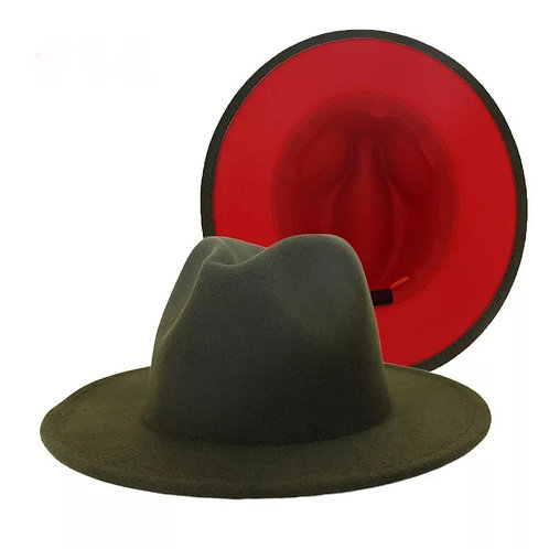 Fedora - Army Green with Red Bottom