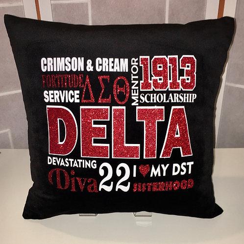 Delta Terms Glitter Pillow Cover