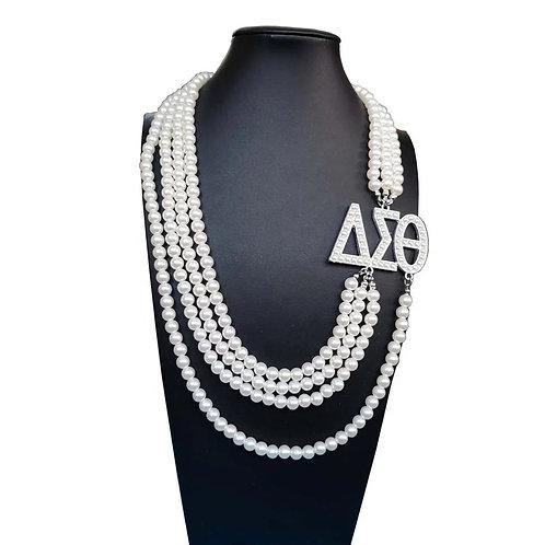 Delta Sigma Theta Multi-layer Pearl Necklace