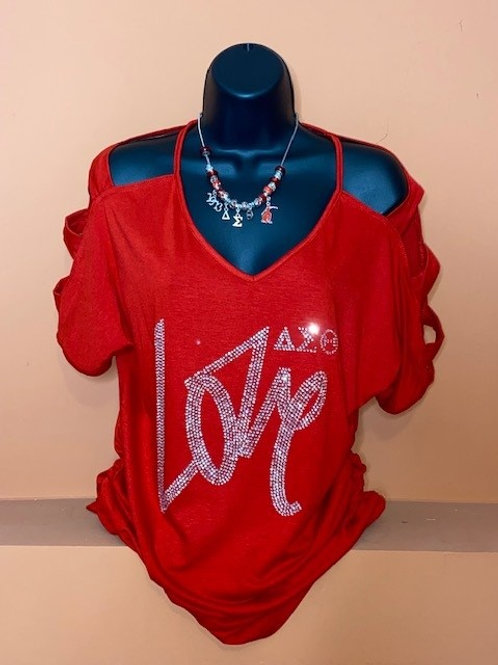Love DST Rhinestone Shirt - Red Cut Out Cold Shoulder