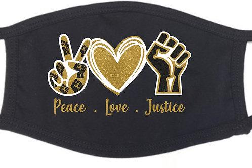 Peace Love Justice Glitter Mask