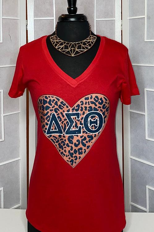 Delta Sigma Theta Glitter Leopard Heart  - Red