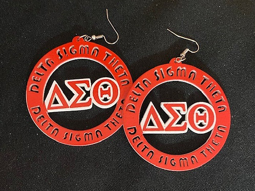 Delta Sigma Theta Wooden Circle Earrings