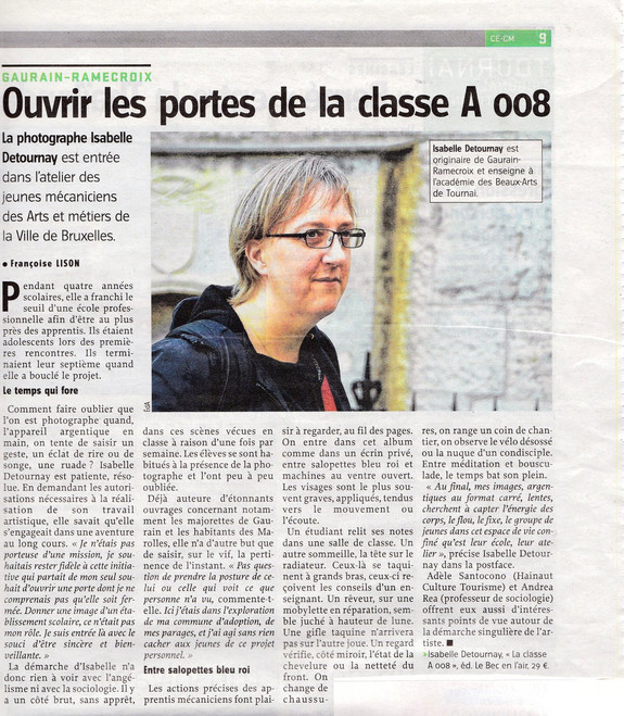 Françoise Lison_article Courrier de l'Escaut