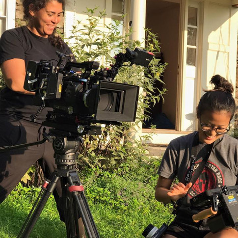Director of Photography Katherine Castro (left) and 1st Assistant Camera Cindy Chen (right)