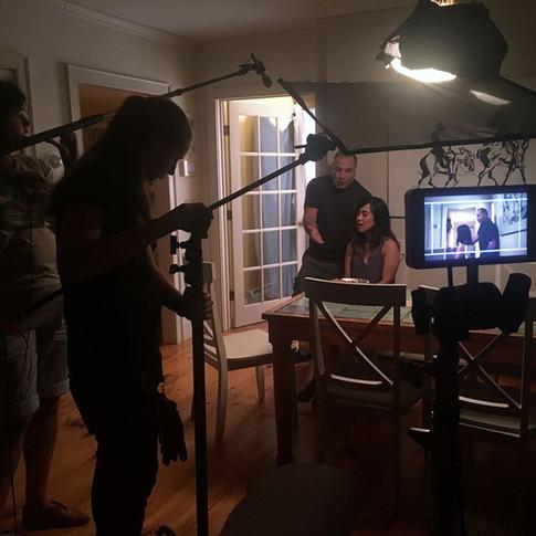 Actors Mitch Poulos (Brian) and Jennifer Tsay (Maris) onset