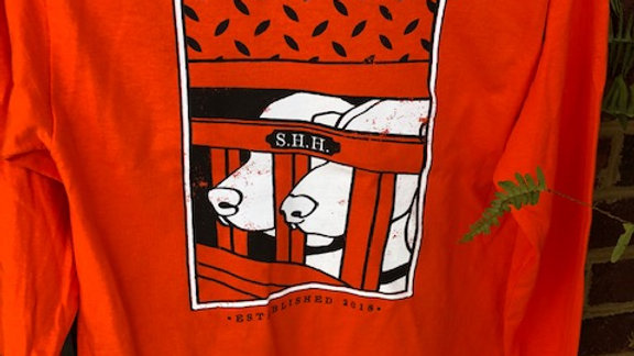 Orange Dog Box Print Long Sleeve