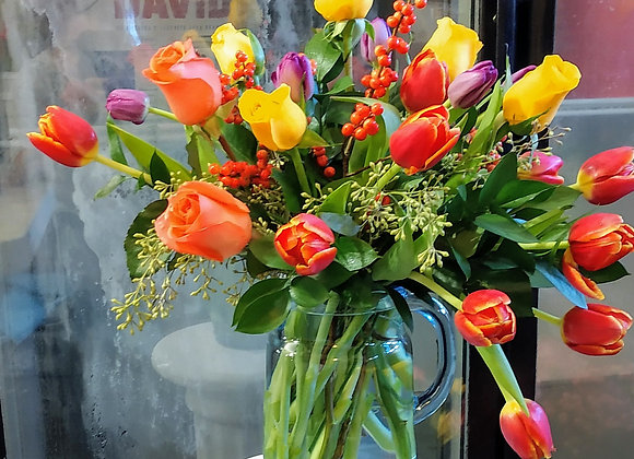 Tulips & Roses. Please call before placing order for availability.