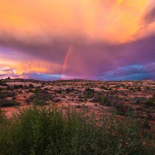 Sunset Rainbow Arches National Park