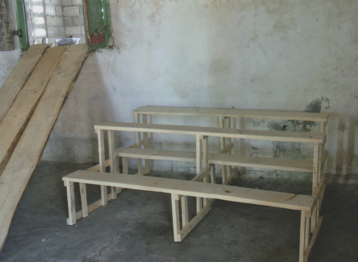 The new benches for the school