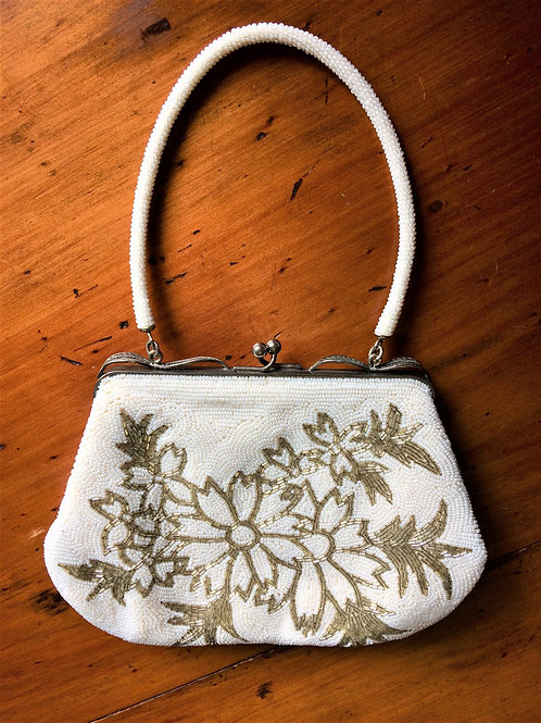 Beaded Handbag White