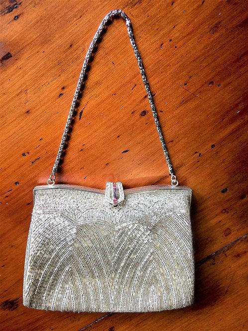 Beaded Handbag Silver Square