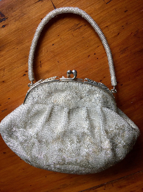 Beaded Handbag Silver