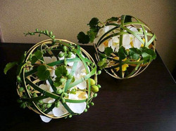 Artificial flowers in bamboo ball $50 each_edited