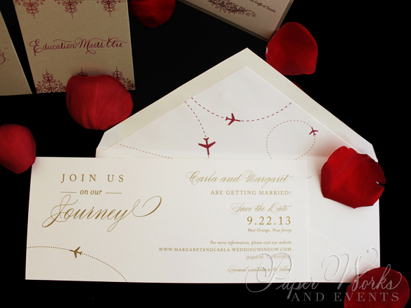 Elegant Plane Travel Red and Gold Save the Date 1 paperworksandevents.com