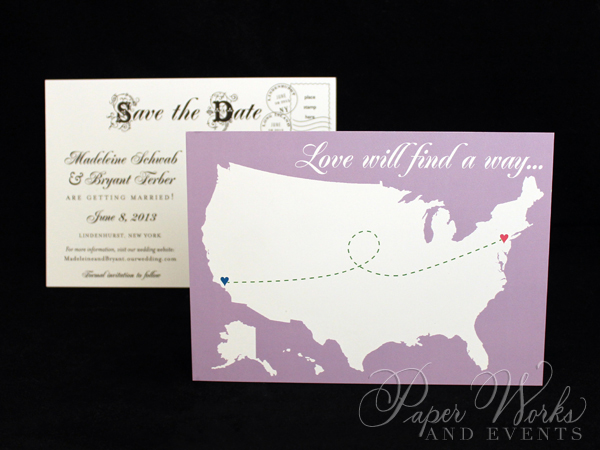 Cute Fun Long Distance Theme Post Card Save the Date 2 paperworksandevents.com .