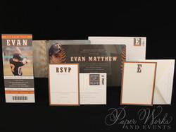 High Gloss Rounded Corner Baseball Ticket Bar Mitzvah Invitation 3 paperworksandevents.com