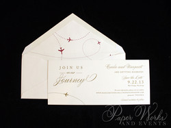 Elegant Plane Travel Red and Gold Save the Date 2 paperworksandevents.com