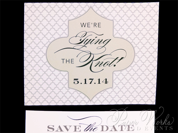 Cream and White Patterned Save the Date (2)