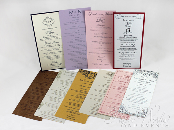 Rectangular Event Menus Multi Sizes 4 pa