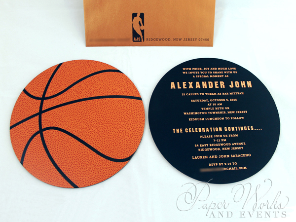 Basketball Two Sided Layered Foil Stamped Bar Mitzvah Invitation 2 paperworksandevents
