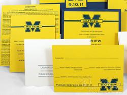 Football Team Yellow and Blue Sleeve Invitation 3 paperworksandevents.com