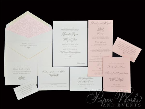 Lace pattern letterpress Wedding Invitation (4)