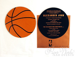 Basketball Two Sided Layered Foil Stamped Bar Mitzvah Invitation 5 paperworksandevents