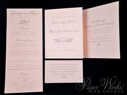 Lace pattern letterpress Wedding Invitation (3)