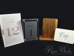Custom Table Numbers Wood Lucite 3 paper