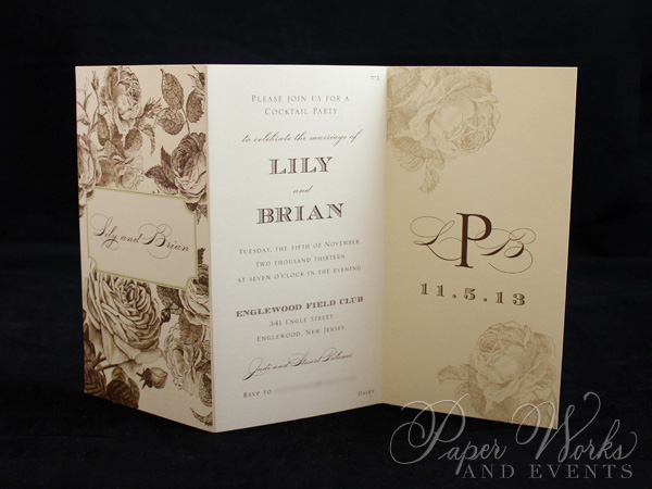 Elegant Floral Tri Fold After Wedding Celebration Invitation 1 paperworksandevents.com