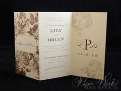Elegant Floral Tri Fold After Wedding Celebration Invitation 1 paperworksandevents.com