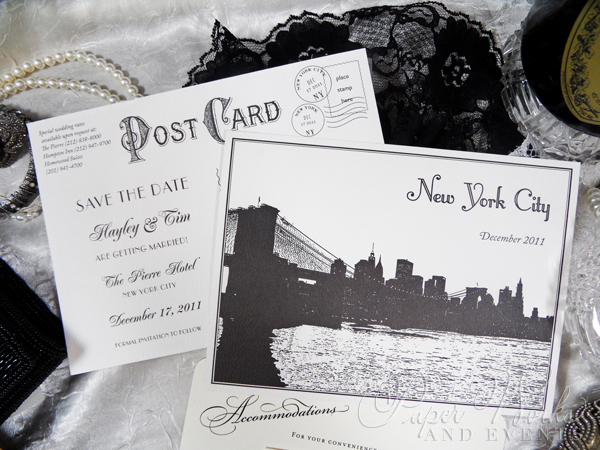 Classic Vintage Post Card Save the Date Black and White 4 paperworksandevents